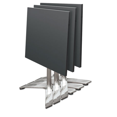 Bistro Folding Table, Square, 27-1/2w X 27-1/2d X 29h, Black/brushed Steel