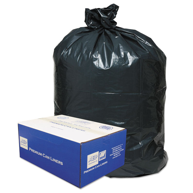 2-Ply Low-Density Can Liners, 55-60gal, .9mil, 38 X 58, Black, 100/carton