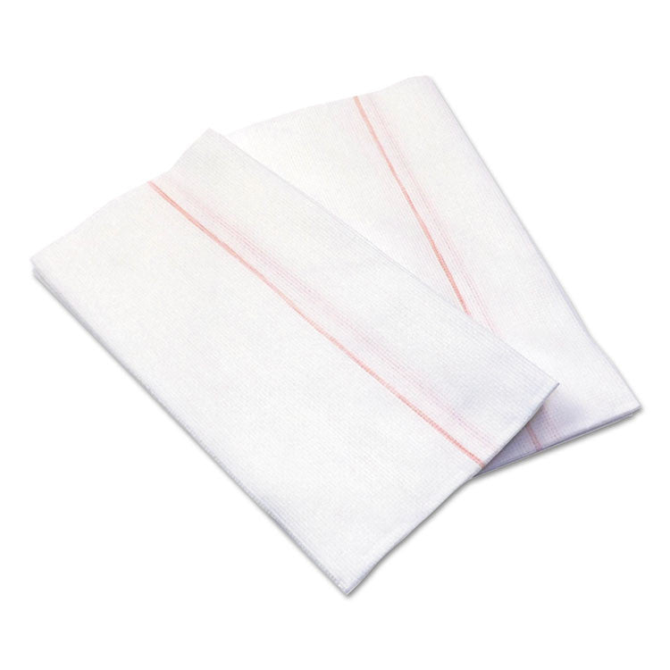 Busboy Durable Foodservice Towels, White/red Stripe,12 1/4 X 24, 150/carton