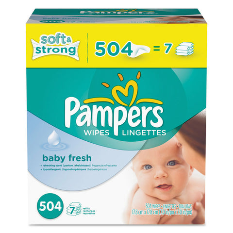 Baby Fresh Wipes, White, Cotton, 504/carton