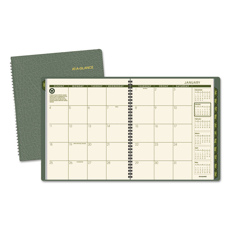 Recycled Monthly Planner, 9 X 11, Green, 2017-2018