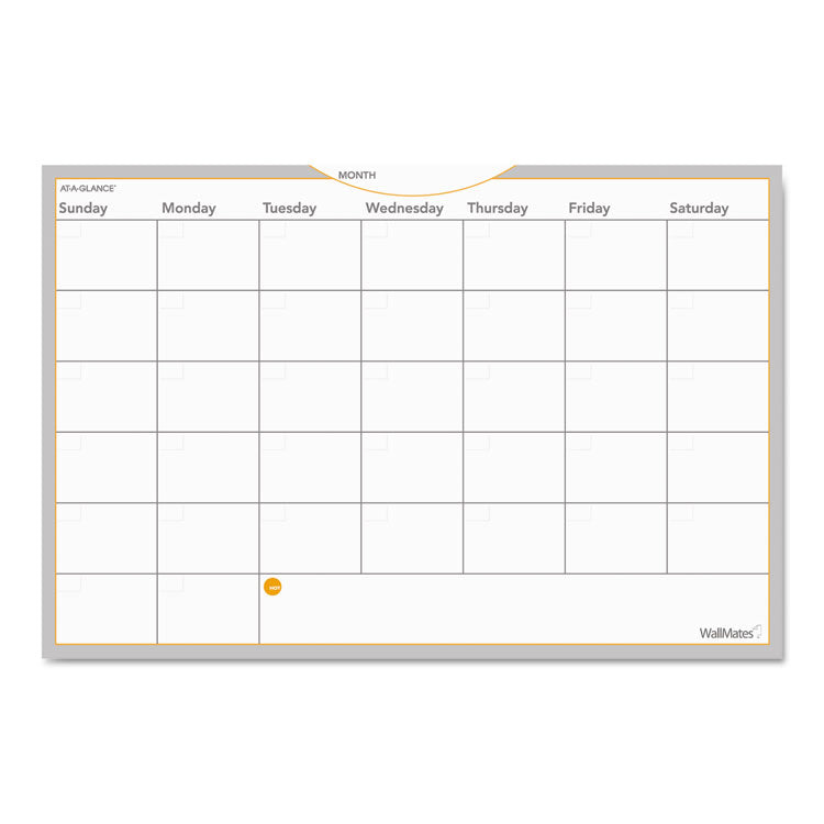 Wallmates Self-Adhesive Dry Erase Monthly Planning Surface, 36 X 24
