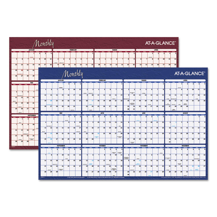 Reversible Horizontal Erasable Wall Planner, 36 X 24, 2017