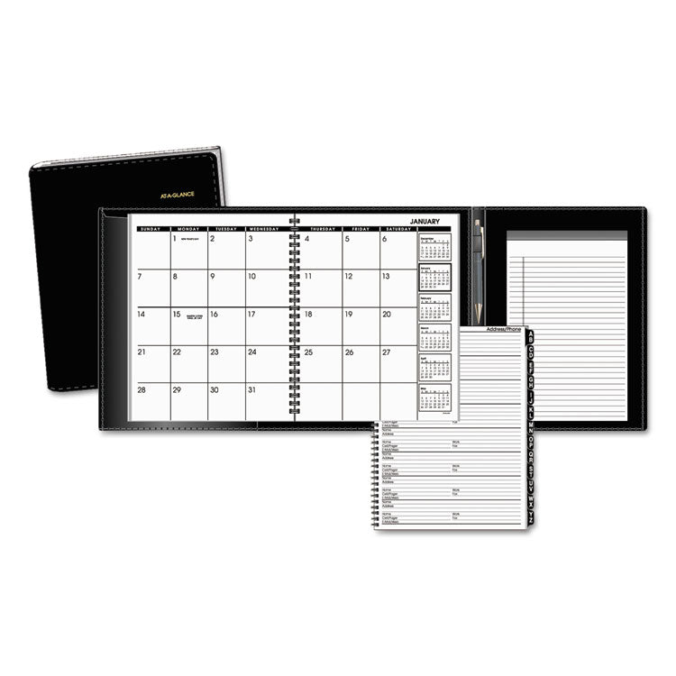 Plus Monthly Planner, 6 7/8 X 8 3/4, Black, 2017