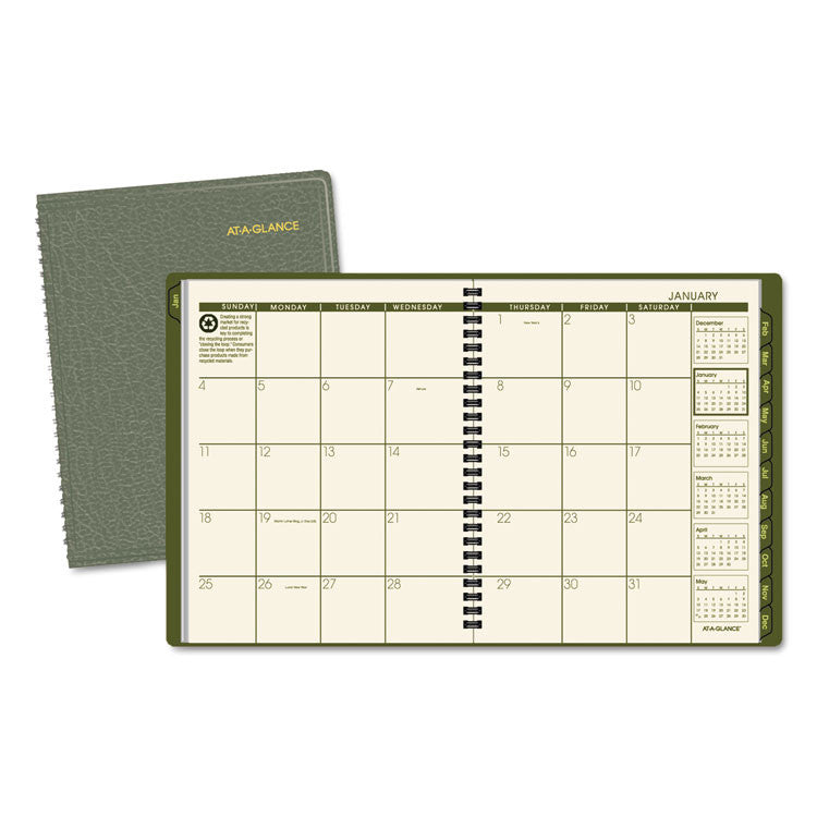 Recycled Monthly Planner, 6 7/8 X 8 3/4, Green, 2017