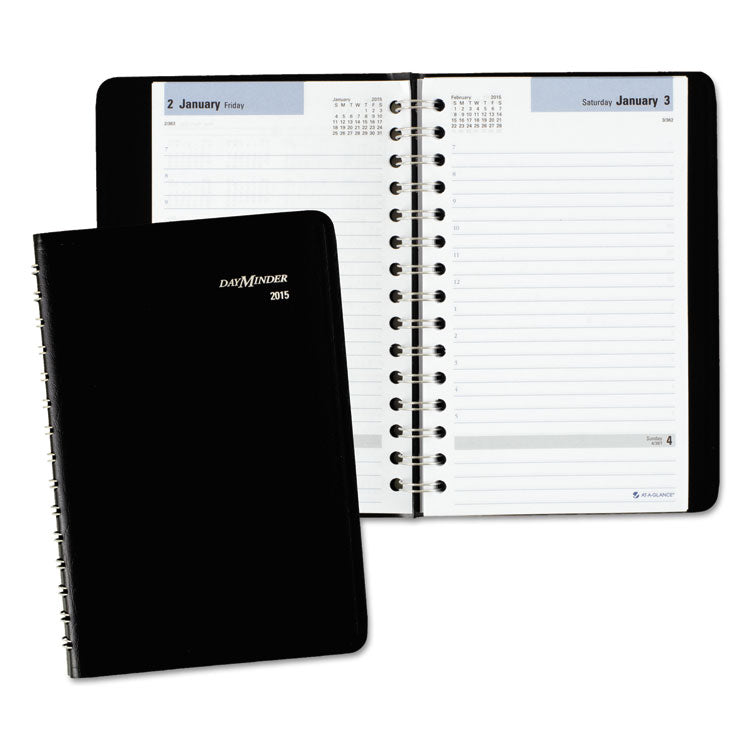 Daily Appointment Book With Hourly Appointments, 8 X 4 7/8, Black, 2017