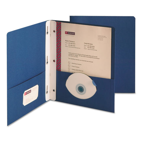 "2-Pocket Folder W/tang Fastener, Letter, 1/2"" Cap, Dark Blue, 25/box"