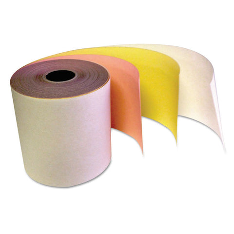"Carbonless Receipt Rolls, 3-Ply, 3"" X 67 Ft, White/canary/pink, 60/carton"