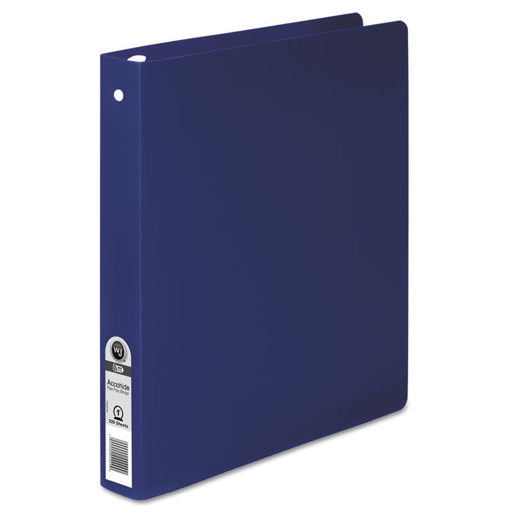"Accohide Poly Round Ring Binder, 35-Pt. Cover, 1"" Cap, Dark Blue"