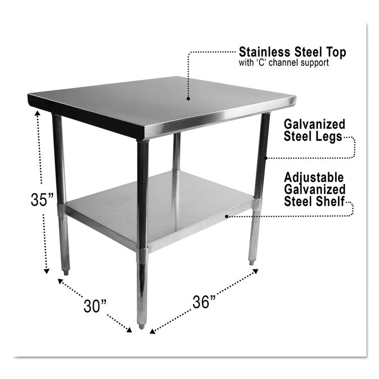 NSF APPROVED STAINLESS STEEL FOODSERVICE PREP TABLE, 36 X 30 X 35, SILVER