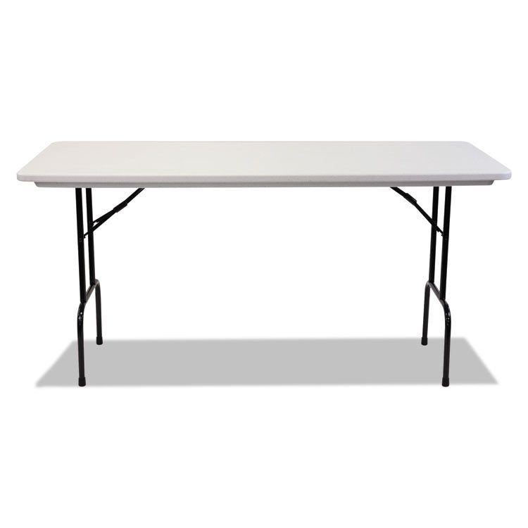 "Blow Molded Resin 36"" Height Folding Table, 72w X 30d X 36h, Gray Granite"