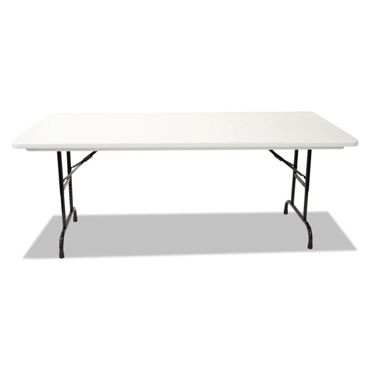 Blow Molded Resin Top Folding Tables, 72w X 30d X 22-32h, Gray Granite
