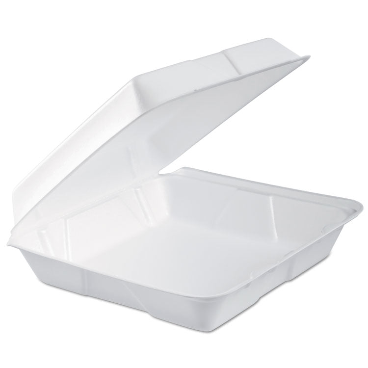 Foam Hinged Lid Container, 1-Comp, 9.3 X 9 1/2 X 3, White, 100/bag, 2 Bag/carton