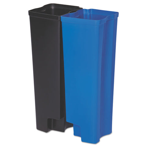 Step-On Rigid Dual Liner For Resin Front Step, Plastic, 13 Gal, Black/blue