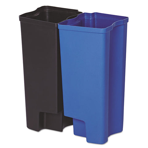 Step-On Rigid Dual Liner For Resin Front Step, Plastic, 8 Gal, Black/blue