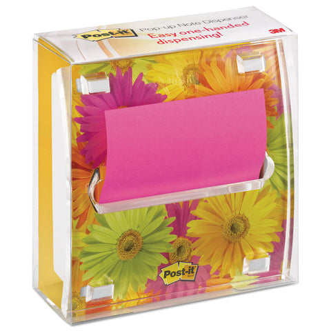 CLEAR TOP POP-UP NOTE DISPENSER, DAISY INSERT, 3X3 FUSCHIA/CANARY PAD, BLACK,1PK