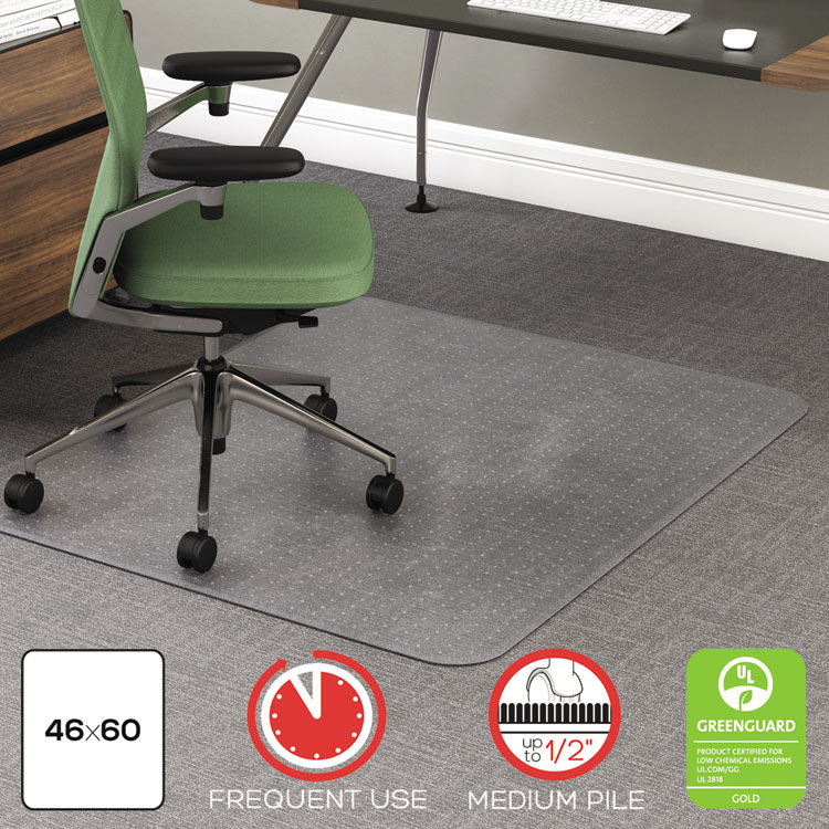 ROLLAMAT FREQUENT USE CHAIR MAT, MED PILE CARPET, FLAT, 46 X 60, RECTANGLE, CR