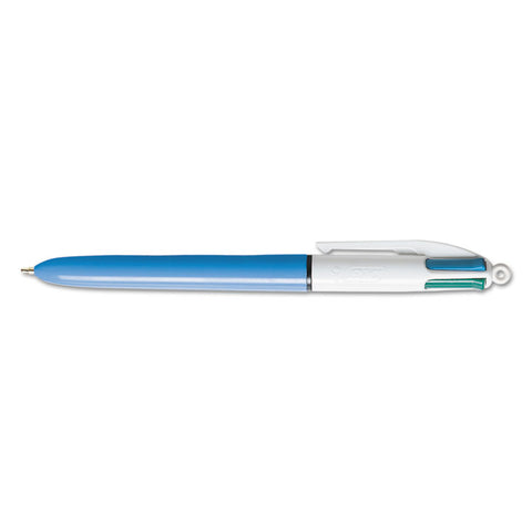 4-Color Retractable Ballpoint Pen, Assorted Ink, Blue Barrel, 1mm, Medium