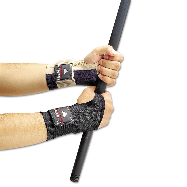 Dual-Flex Wrist Supports, Medium, Nylon, Black