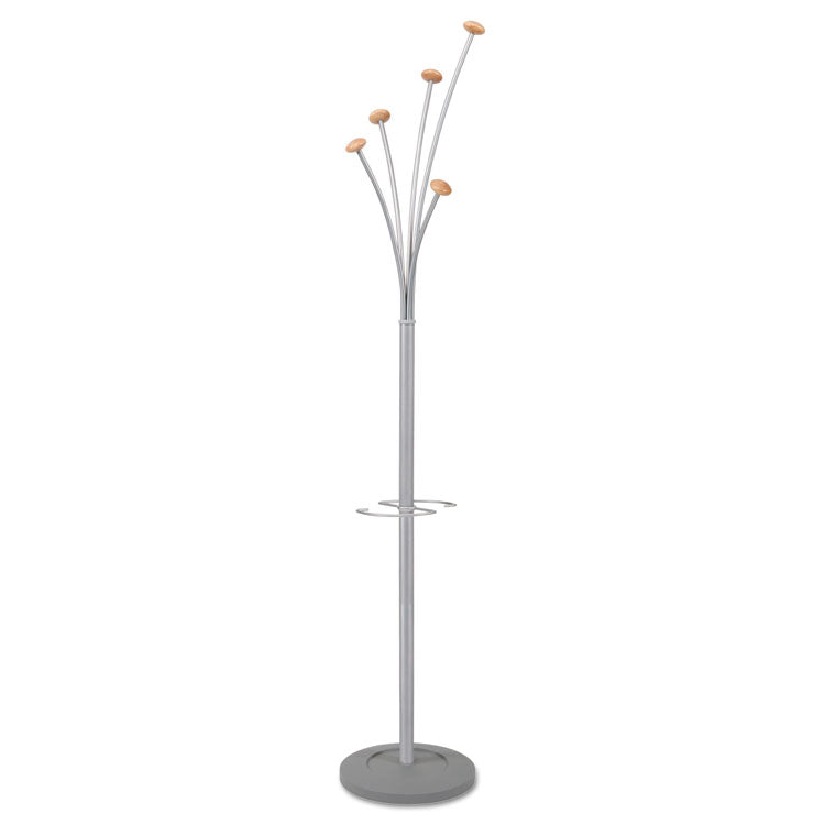 Festival Coat Stand With Umbrella Holder, Five Knobs, Silver Gray Steel/wood
