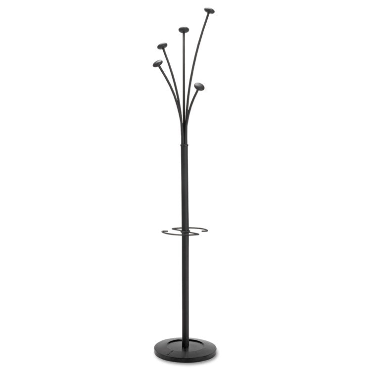 Festival Coat Stand With Umbrella Holder, 5 Knobs, 14w X 14d X 73-2/3h, Black