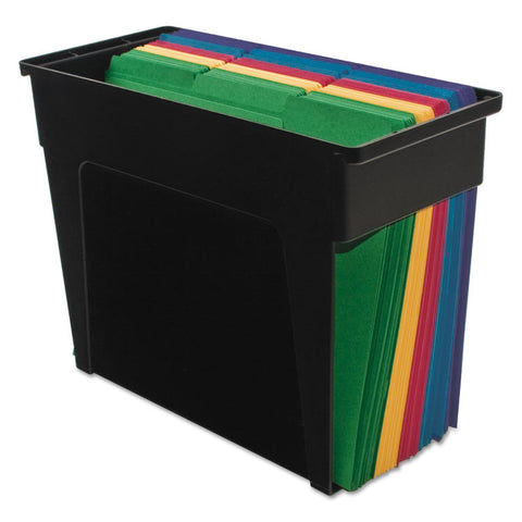 Desktop File Box, Plastic, 5 1/2 X 13 X 9 5/8, Black, Letter