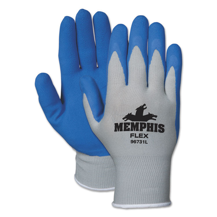 Memphis Flex Seamless Nylon Knit Gloves, Medium, Blue/gray, Pair