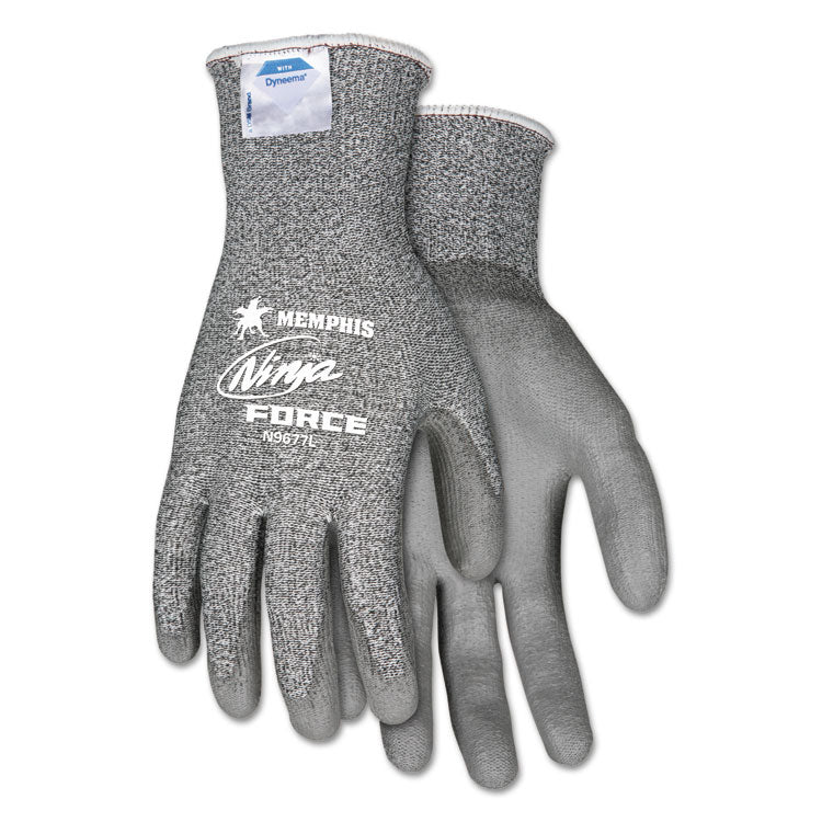 Ninja Force Polyurethane Coated Gloves, X-Large, Gray, Pair