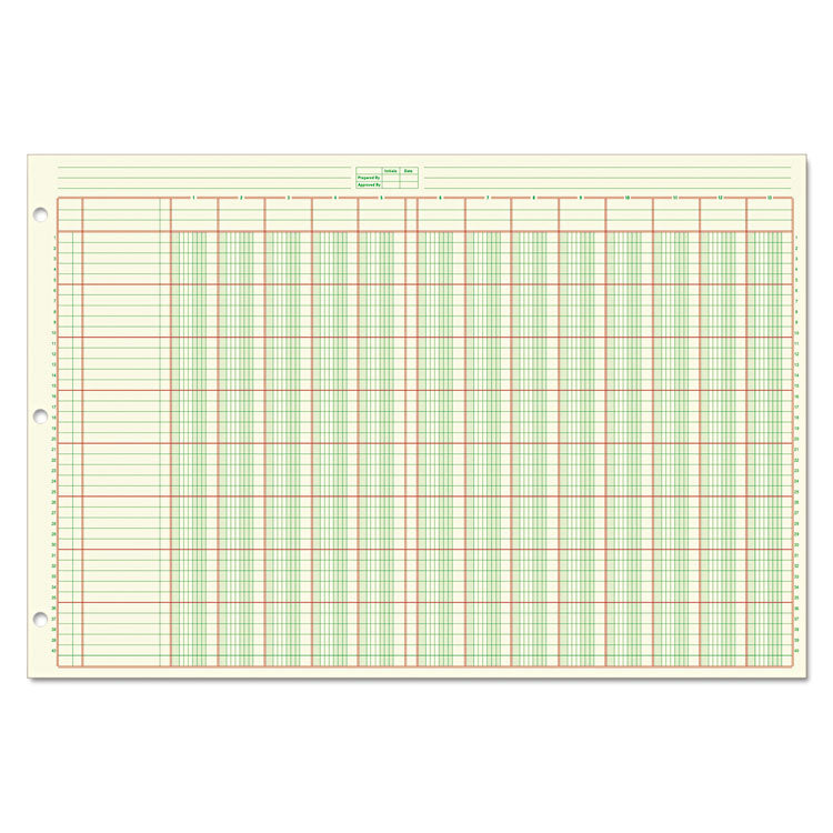 Columnar Analysis Pad, 13 Column, 8 1/2 X 11, Double Page Format, 50 Sheets/pad