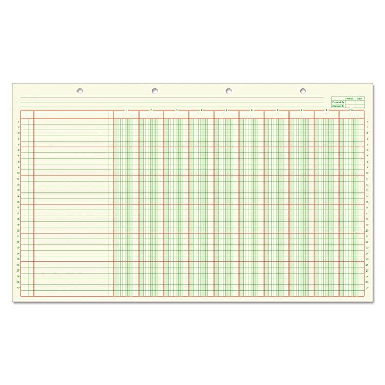 Columnar Analysis Pad, 10 Column, 8 1/2 X 11, Single Page Format, 50 Sheets/pad