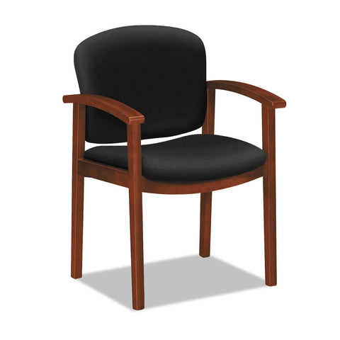 2111 Invitation Reception Series Wood Guest Chair, Cognac/solid Black Fabric