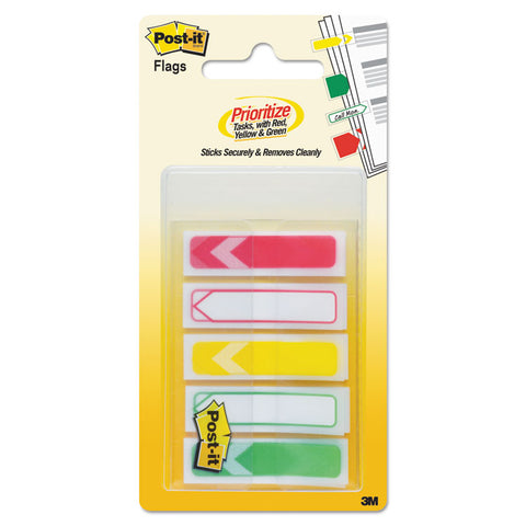 "Arrow 1/2"" Prioritization Page Flags, Red/yellow/green, 100/pack"