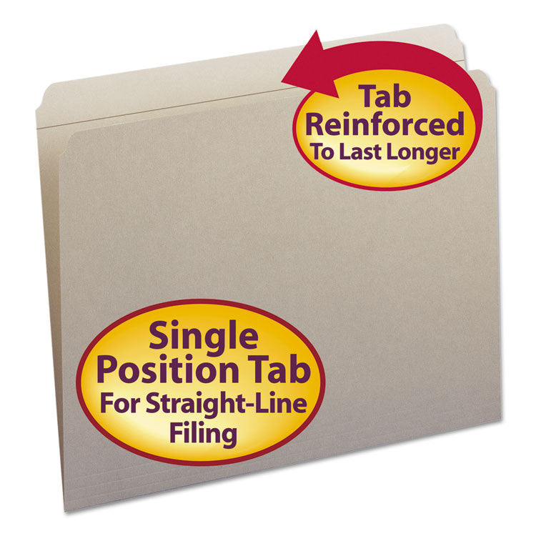 File Folders, Straight Cut, Reinforced Top Tab, Letter, Gray, 100/box