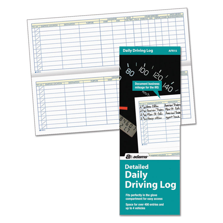 Detailed Daily Driving Log, 3 1/4 X 9, 45 Pages
