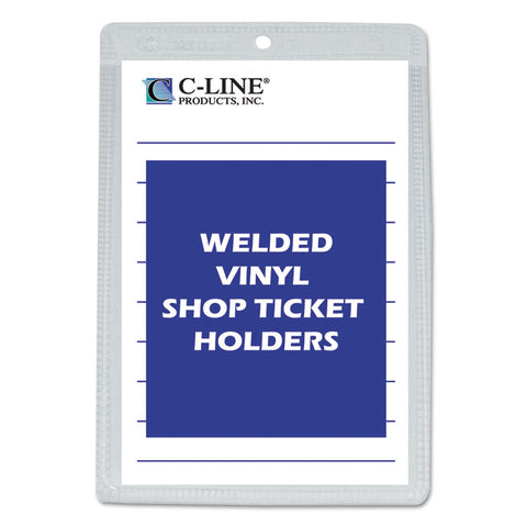 CLEAR VINYL SHOP TICKET HOLDER, BOTH SIDES CLEAR, 25 SHEETS, 5 X 8, 50/BOX
