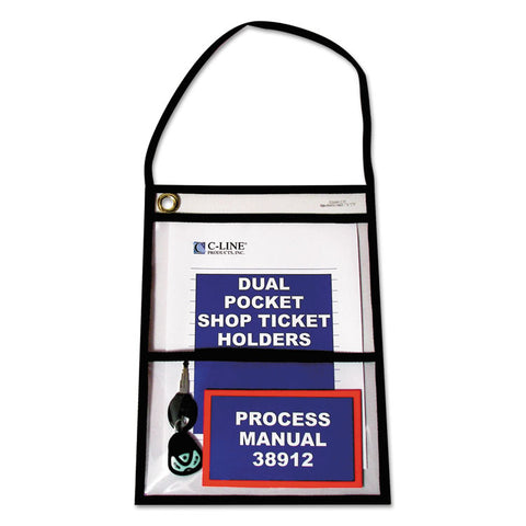 2-POCKET SHOP TICKET HOLDER W/STRAP, BLACK STITCHING, 150-SHEET, 9 X 12, 15/BOX