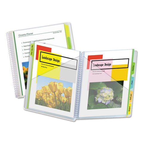 10-Pocket Poly Portfolio With Write-On Tabs, Polypropylene, Clear