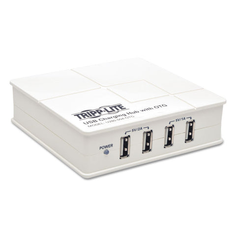 4-Port Usb Tablet/smartphone Charging Station With Otg Hub, White