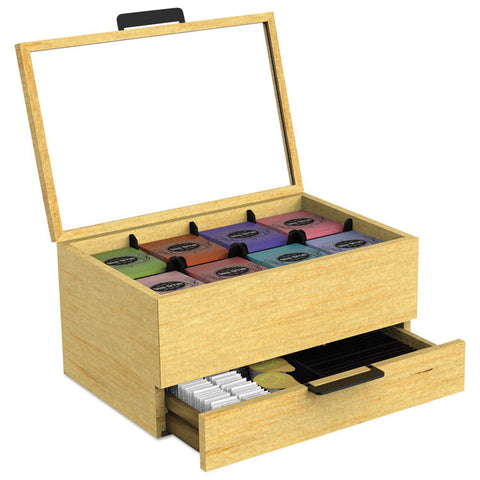 Tea Condiment And Accessory Organizer, Blonde Wood/glass, 13 1/5x4 2/5x10 2/5