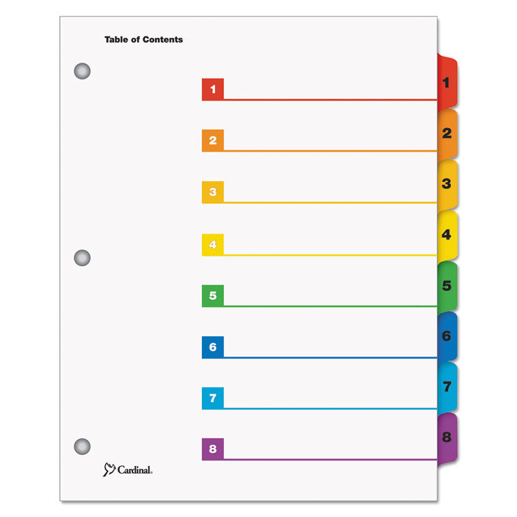Traditional Onestep Index System, 8-Tab, 1-8, Letter, Multicolor, 1 Set
