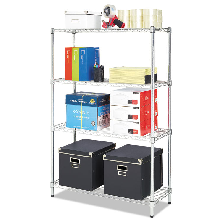 Residential Wire Shelving, Four-Shelf, 36w X 14d X 54h, Silver