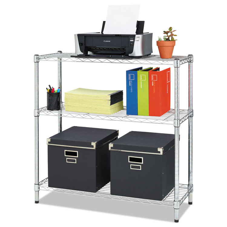 Residential Wire Shelving, Three-Shelf, 36w X 14d X 36h, Silver