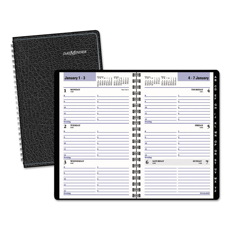 Block Format Weekly Appointment Book W/contacts Section, 4 7/8 X 8, Black, 2017