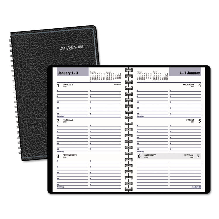 Block Format Weekly Appointment Book, 4 7/8 X 8, Black, 2017