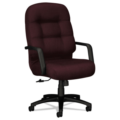 2090 Pillow-Soft Series Executive High-Back Swivel/tilt Chair, Wine Fabric/black