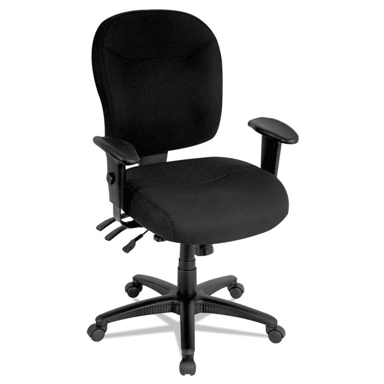 Alera Wrigley Series Mid-Back Multifunction Chair, Black, Adjustable Arms