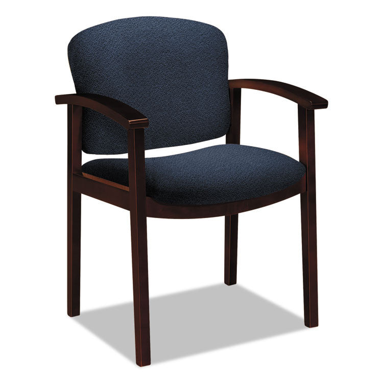 2111 Invitation Reception Series Wood Guest Chair, Mahogany/solid Blue Fabric