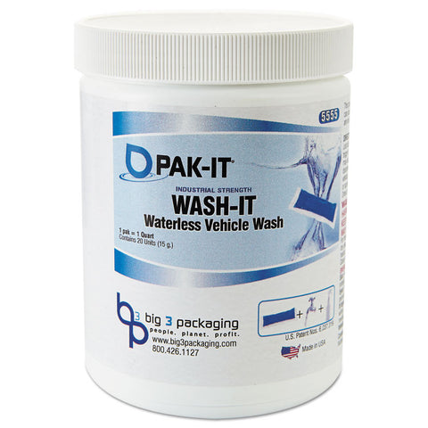 Wash-It Waterless Vehicle Wash, Breezy Scent, 20 Pak-Its/jar