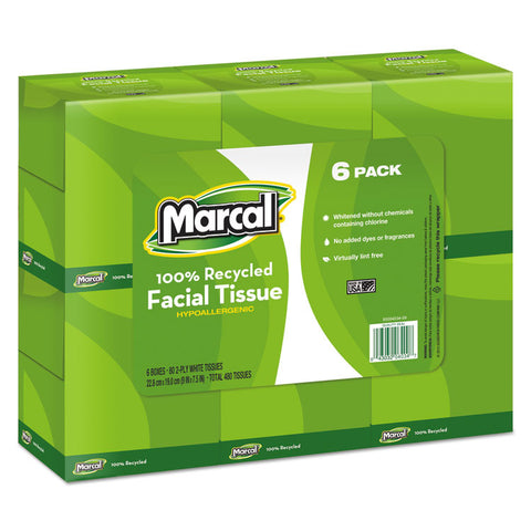100% Recycled Convenience Pack Facial Tissue, White, 80/box, 6 Boxes/pack