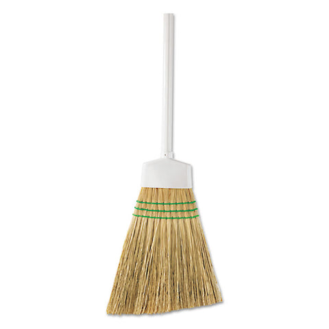 "Corn Angle Broom, 12"" Bristles, 54"", Wooden Handle, White"